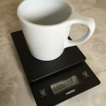 Hario V60 Drip Scale with cup placed on it