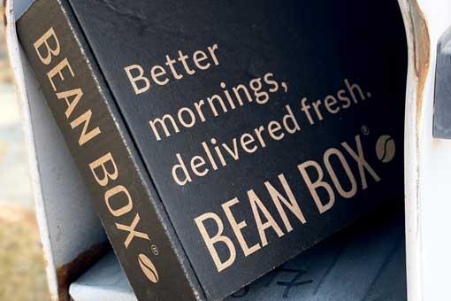 bean box coffee subscription box in mailbox
